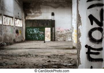Industrial building interior in dark colors