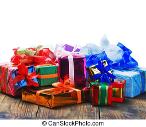 Christmas and New Year's gifts on a white background