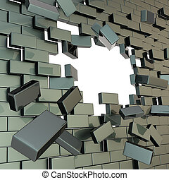 Broken into pieces brick wall with a copyspace hole - Broken...