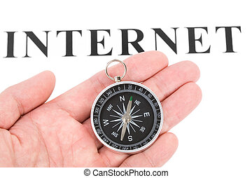 headline internet and Compass, concept of internet searching