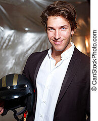 Portrait of an attractive young man with helmet - Portrait...