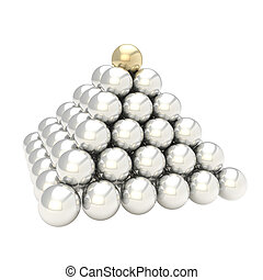 Pile pyramid of glossy spheres isolated on white