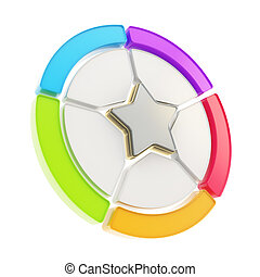 Five sector star emblem diagram isolated - Five sector...