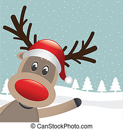 reindeer red nose and hat wave - rudolph reindeer red nose...