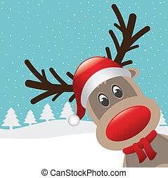reindeer red nose with hat and scarf