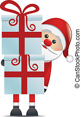 santa hold gift boxes red isolated - santa hold gift boxes...