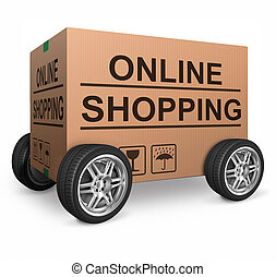 online shopping carboard box concept icon for shipping...