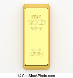 isolated gold bar - 3d render of gold bar, for wealth or...