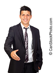 Young Confident young business man  shaking hands