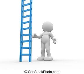 Ladder - 3d people - man, person with a big ladder.