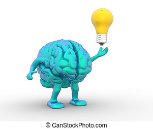 Brain - 3d brain and a light bulb 3d render illustration