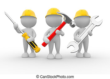 Equipment - 3d people - men, person with the tools in the...