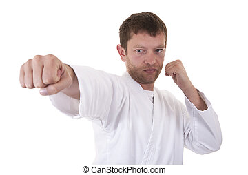 self defense exercise on white background