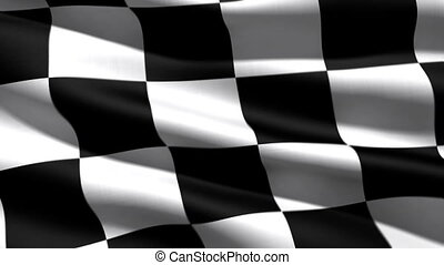 race flag, 3d animation, perfect seamless loop