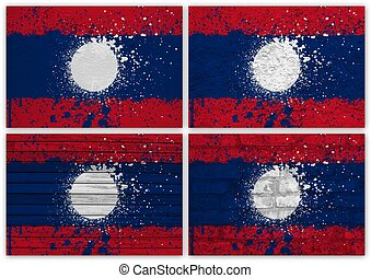 Laos flag collage
