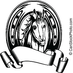 head horse in horse shoe - Vector illustration head horse in...