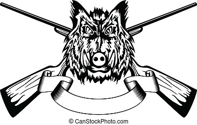 head wild boar and crossed guns - Vector illustration head...