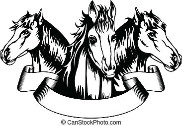 heads horses - Vector  illustration heads horses and banner
