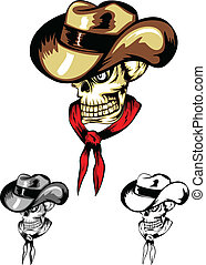 skull cowboy color dwa - Vector image of skull in cowboy's...