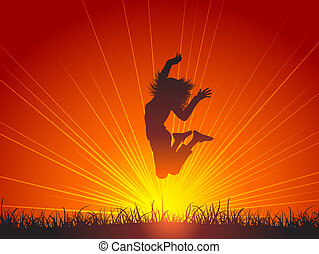 Jump for joy - Silhouette of a female jumping for joy