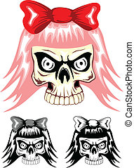 skull emo dwa - Vector illustration skull emo with red bow
