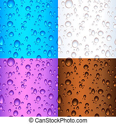 Seamless tile water drop backgrounds - Different coloured...