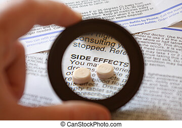 Side Effects - Magnified focal area over the warning...