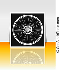 Bicycle wheel on flyer or cover