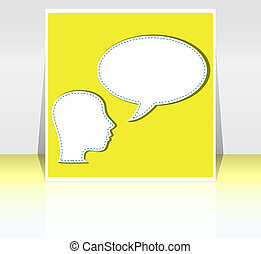 mid adult business man talk in blank speech bubble -...
