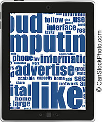 Tablet pc with business  words on white background