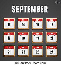 Set of red high-detailed calendar icons for September 2012....