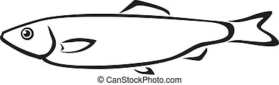 Sprat fish - Contour black and white sea fish sprat