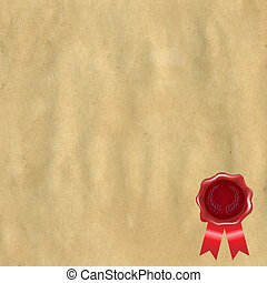 Wax Seal With Old Paper, Vector Illustration