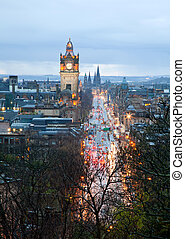Edinburgh skyline with garden Scotland UK at dusk