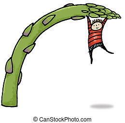 Asparagus Spear - Whimsical illustration of child hanging...