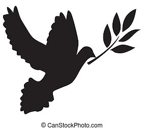 dove - vector dove silhouette with olive branch