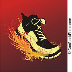 Sports footwear - The image of sports footwear on fire...