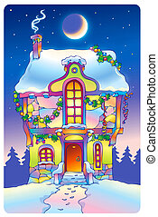 Fairy tale house under the moonlight on Christmas Eve -...