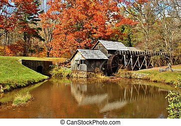 Autumn at Mabry Mill 2 - Mabry Mill, a restored gristmill on...