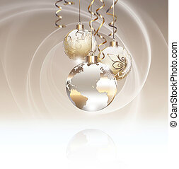 Worlds Christmas baubles background