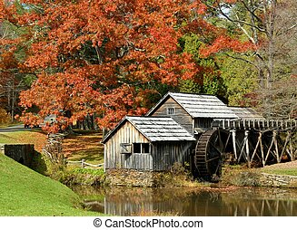Autumn at Mabry Mill 6 - Mabry Mill, a restored gristmill on...