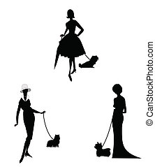 ladies and their dogs - elegant refined ladies holding their...