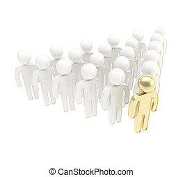 Crowd of symbolic human figures with a leader ahead