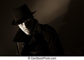 Noir - Sepia toned noir portrait of suspicious looking young...