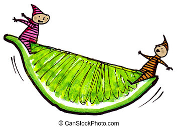 Lime Wedge - Whimsical illustration of two children...