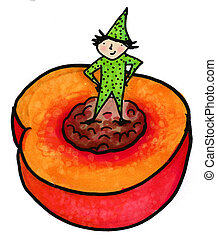 Nectarine or Peach - Whimsical illustration of child...
