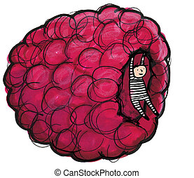 Raspberry Fruit - Whimsical illustration of child hanging...