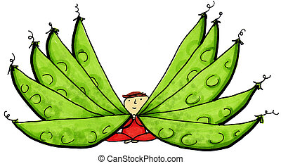 Snow Pea Pods - Whimsical illustration of child with fan of...