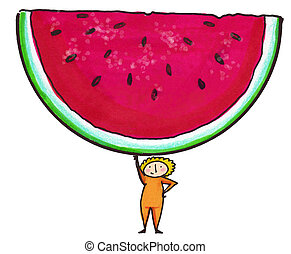Watermelon Slice - Whimsical illustration of child holding...
