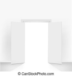 Open Doors, Isolated On Grey Background, Vector Illustration